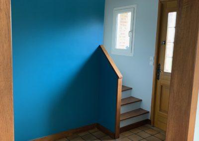 Rafraichissement d'une cage d'escalier, d'un couloir et d'une entrée à Puilsieux près de Reims